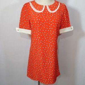 Paper Crane Dress Red Short Sleeve Vintage Pattern